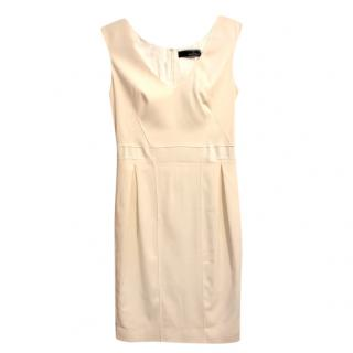 Amanda Wakeley Cream Silk/Wool Fitted Dress