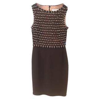 Valentino black silk embellished bodice knee-length dress