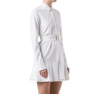 Victoria Beckham Peplum Hem White Shirt Dress