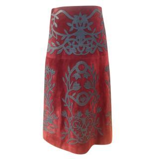 Valentino red & blue applique suede skirt