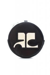 Courreges grey zip vinyl logo clutch