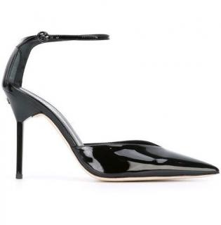Nina Ricci black ankle-strap pointed patent leather pumps