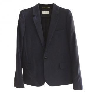 Saint Laurent navy wool blazer jacket