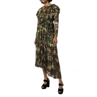 Preen Stephanie camouflage flared silk dress