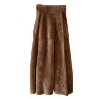 MaxMara brown lamb fur A-line long skirt