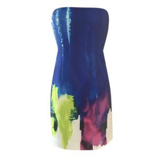 Milly blue patterned strapless mini dress, US size 8