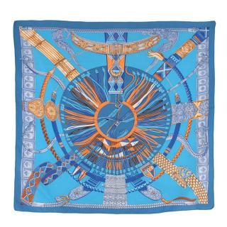 Hermes Ceinture et Liens Blue Colourway Silk Scarf 90