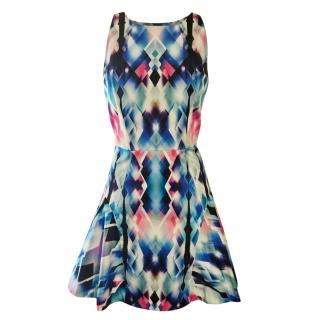 Milly blue printed skater dress, US size10