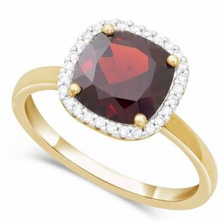 Bespoke Yellow Gold Garnet & Diamond Cocktail Ring