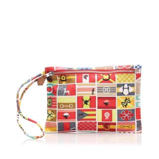 Hermes Printed Silk Pouch/Wristlet in Box