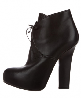 Bottega Veneta Black Platform Lace-Up Ankle Boots