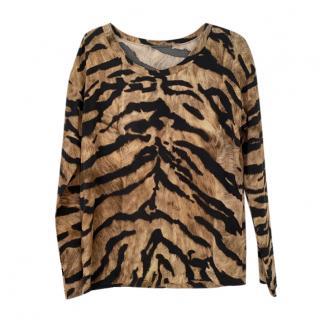 Dolce & Gabbana tiger print silk blend long-sleeve top