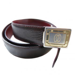Cartier burgundy lizard & gold tone Santos De Cartier belt