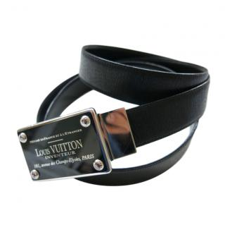 Louis Vuitton black leather belt buckle