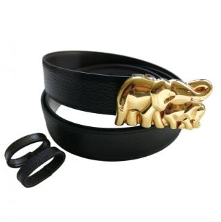 Cartier mother & baby elephant gold-tone buckle leather belt