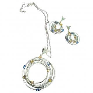 Tejori white gold, diamond & sapphire earrings & necklace set