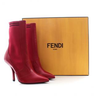 Fendi red leather pointed sock boots