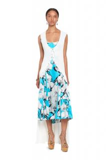 Roberto Cavalli Orchid Print Dress with Knit Overlay