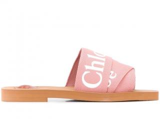 Chloe woody pink crossover logo sandals