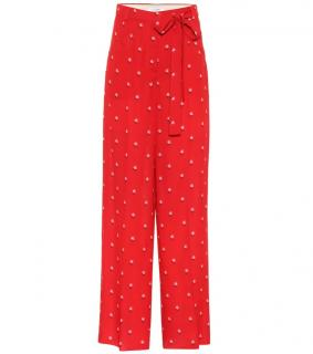 Valentino red floral dotted silk crepe trousers