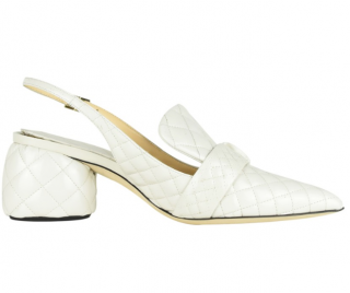 Anya Hindmarch Chalk White Quilted Slingbacks