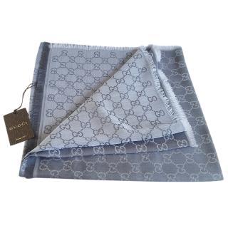 Gucci grey GG Guccissima logo wool & silk blend scarf