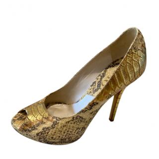 Christian Dior beige & gold python peep-toe pumps
