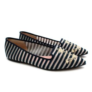 Pretty Ballerinas Mesh Striped Ballerina Flats