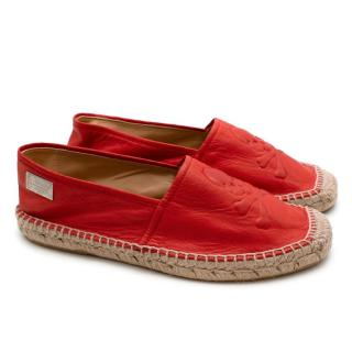 Philipp Plein Red Leather Espadrilles