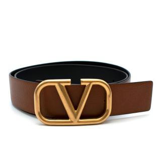 Valentino Tan VLogo Leather Belt - Size 95