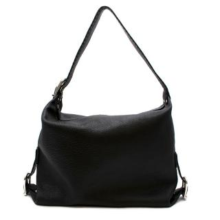Fendi Black Leather Buckle Detail Tote Bag