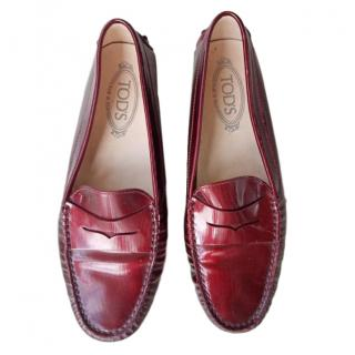 Tods Gommino red patent leather loafers