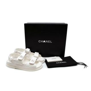 Chanel White Quilted Lambskin Dad Sandals