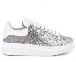 Alexander McQueen silver Leather-trimmed glitter sneakers