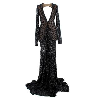 Michael Costello Sequin Embellished Mesh Open Back Gown