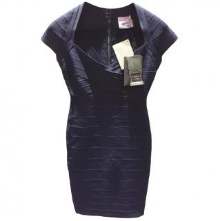 Herve Leger navy short-sleeve bandage dress