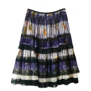 Prada Vintage Pleated Floral Print Skirt