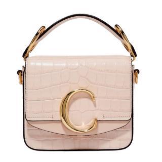 Chloe Croc Embossed C Bag in Cement Pink