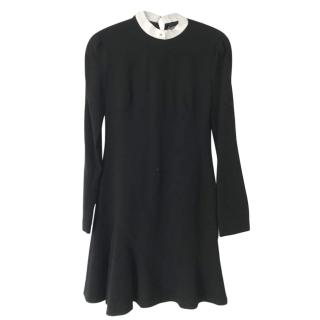 Alexander McQueen Wool Black Mini Dress with Collar