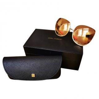 Linda Farrow 847/C1 Yellow Gold oversized sunglasses