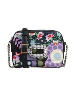Roger Vivier Photocall black floral leather crossbody bag