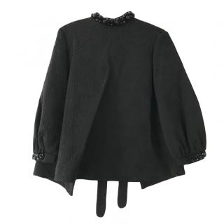 Simone Rocha black embellished cotton open back top