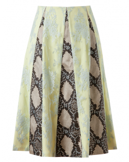 Etro Jemima Lace And Python Printed Silk Skirt