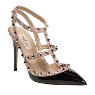 Valentino Rockstud T-strap black & beige patent leather pumps