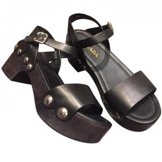 Prada black leather platform embellished sandals