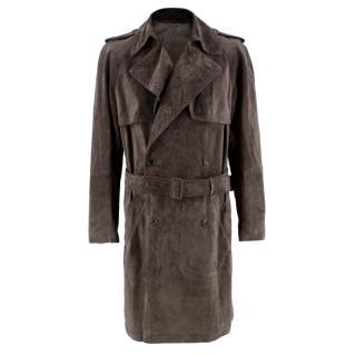 Asprey London Brown Suede Trench Coat