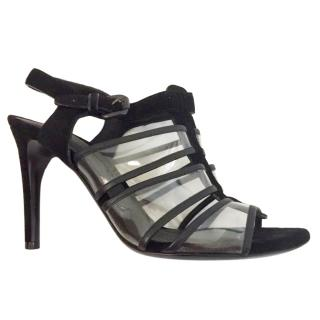 Bottega Veneta black leather transparent heeled sandals