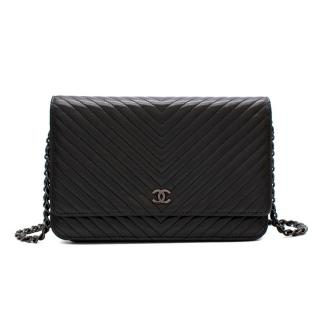 Chanel Black Lambskin Chevron Leather Wallet on Chain
