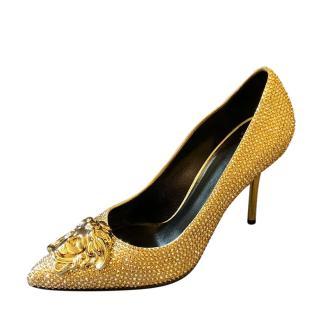 Versace Swarvoski Palazzo gold pointed pumps