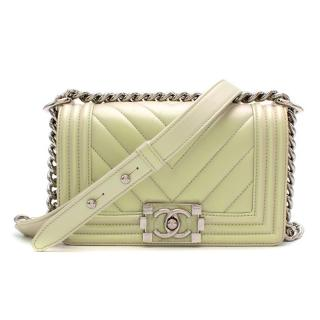 Chanel Iridescent Green Small Chevron Boy Bag